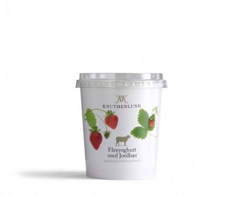 Fåreyoghurt med jordbær i 400 gram bæger